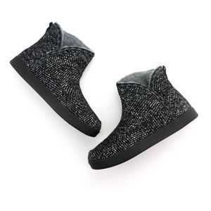 Sanuk Cush N' Blaze Black Knit Ankle Boots Booties